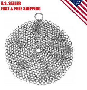 Stainless Steel Cast Iron Skillet Cleaner Scrubber With Hanging Ring
