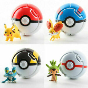 4 PK Bounce Pokemon Pokeballs Cosplay Pop up Elf Go Fighting Poke Ball Toy Gift