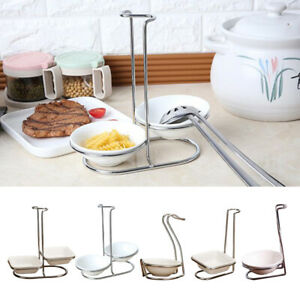 Stainless Steel Ladle Holder Cooking Utensils Stand Kitchen Spoon Rest Rack
