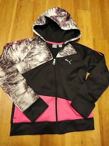 Puma Girls Black Pink Storm Hoodie Long Sleeve Zip Warm Up Jacket L $8.00