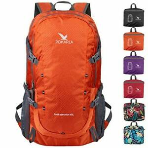 POKARLA Hiking Backpack Lightweight Packable Water Resistant A2-orange-40l