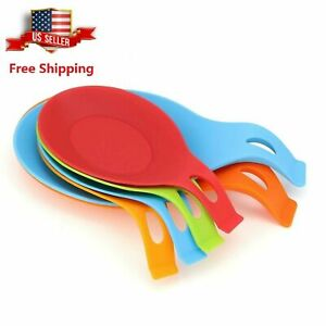 6 Pc Kitchen Silicone Spoon Rest Heat Resistant Utensil Rest Ladle Spoon Holder