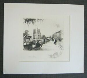 Henri Le Riche French 1868 1944 Original Etching NOTRE DAME with BOOK SELLERS $97.00