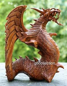 8.5quot; Hand Carved Wooden Dragon Statue Sculpture Figurine Wood Art Home Decor NEW $94.99