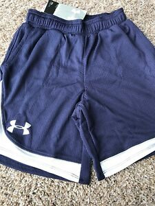 nwt under armour Girls Basketball Shorts Navy Blue White Pockets Sz Small Sm $15.99