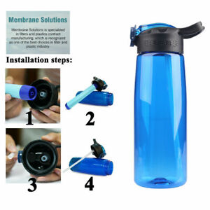 Outdoor Water Filter Bottle Straw 3-Stage BPA Free for Hiking Camping 650ml BPA