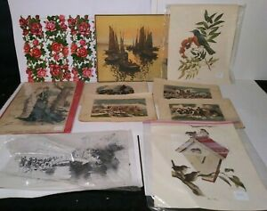 Lot of 10 Antique Lithographs amp; Prints Some German Late 1800 or Early 1900#x27;s $12.99