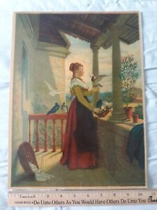 Antique Chromolithograph 1881: WELCOME GUESTS woman feeding birds pigeons