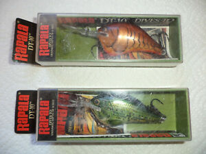 2 Rapala DT-10 Dark Brown Crawdad Baby Bass Dives To Lot of 2 Lures