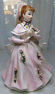Vintage Victorian Lady Porcelain Figurine Vase pink dress with roses 9quot; $35.00