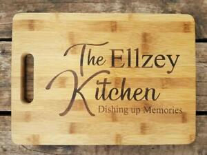 Personalized Bamboo Cutting Lastname Kitchen Dishing up Memories Christmas Gift