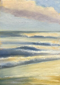 Original Signed Oil Painting Ocean Seascape Clouds Beach Abstract Landscape KEG $29.00
