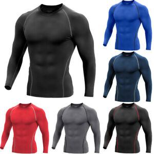 Men Compression Cool Dry Shirt Base Layer Sports GYM Tight Top Long Sleeve Black $12.99