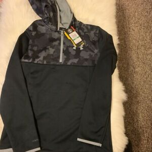 Under Armour ColdGear Boys Hoodie Gray Camouflage 1 4 Zipper Loose Fit L New $19.99