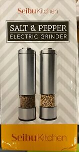 Seibu Kitchen 2 Pack Electric Salt Pepper Grinder Stainless Steel LED Lights