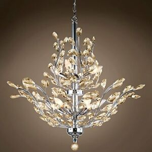 Branch of Light 10 Light Chrome Chandelier with Cognac European Crystals