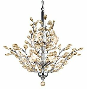 Branch of Light 10 Light LED Chrome Chandelier with Cognac European Crystals