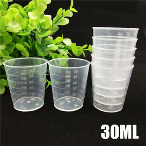 100X 30ml Laboratory Measuring Cup Clear Disposable Liquid Measure Pot Container