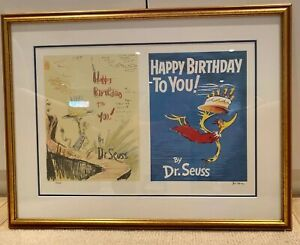 Dr Seuss Happy Birthday To You Diptych  Limited Edition Lithograph Framed