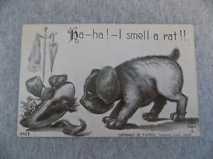 Antique FA.Moss Comic PC Ha I Smell a Rat Puppy Dog Pug Looking Under Hat 1915 $6.25
