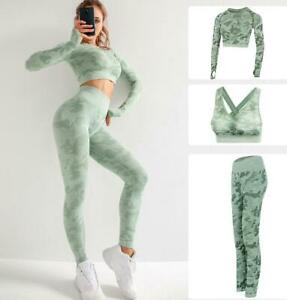 Three Piece Suit Women Sexy Camo Bra Long Sleeve Crop Top Pants Gym Yoga Sport
