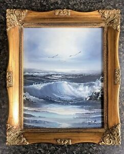 Dictman Signed Framed Oil Painting 10quot; x 12quot; Ocean Waves $49.99