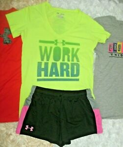 UNDER ARMOUR Womens Size XS Teen Girl L XL Lot of 4 Tops Athletic Shorts Workout $37.99