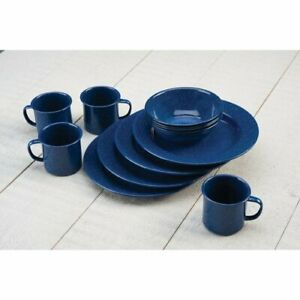 Blue Dining Set Enamel Ware For Picnic Camping Outing Barbecue Outdoor Party New