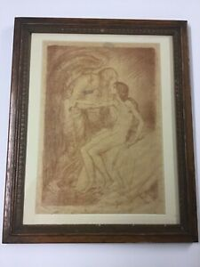 """Albert Sterner Signed Lithograph """"Kiss Of The Angle"""" 1914 $159.00"""