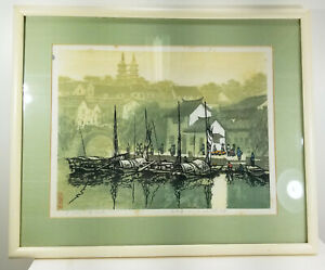 Antique Chinese Japanese SOuth East Asian Woodblock Print Signed Landscape City