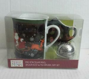 Debbie Mumm Porcelain Tea Mug with Spoon Rest And Metal Tea Infuser Gift Set