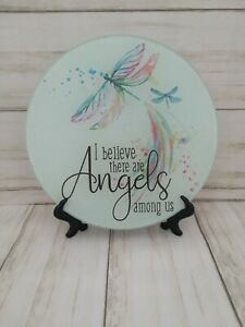 I Believe There Are Angels Among Us Dragonfly Glass Cutting Board Or Decoration