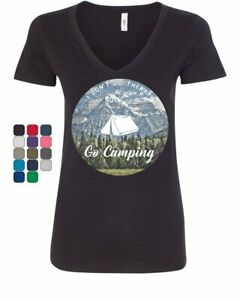 I Go Camping Women#x27;s V Neck T Shirt Therapy is Expensive Nature Wildlife Travel