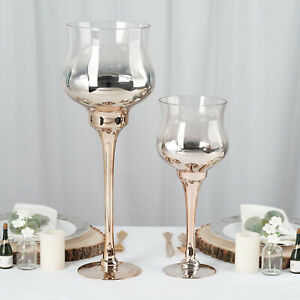 2 pcs Ombre Champagne Wine Glass Tealight Candle Holders Wedding Centerpieces