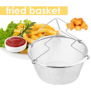 Stainless Steel Frying Net Round Basket Strainer French Fries fried Food +Handle