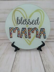 Blessed Mama (Autism) Glass Cutting Board Or Decoration