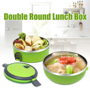 Stainless Steel 2 Layers Thermal Insulated Lunch Box Bento Food Container US