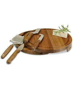 PICNIC TIME TOSCANA BY ACACIA CIRCO WOOD CHEESE BOARD & TOOLS SET  KNIFE CUTTING