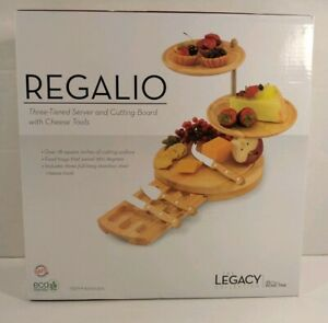 REGALIO 3-TIER COMBINATION SERVING TRAY & CHEESE BOARD W/ CHEESE  KNIFE SET NEW