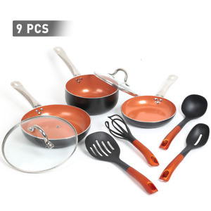 FGY Copper Nonstick 9 Pcs Frying Pan Cookware Set with Ceramic Coating