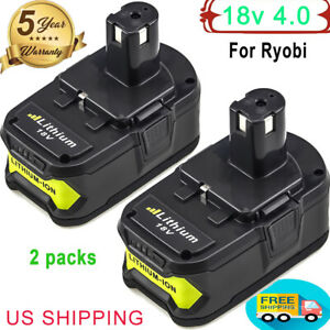 2X18V For Ryobi 4.0Ah P108 One Plus Lithium High Capacity Battery P104 P105 P102