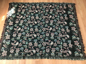Goodwin Weavers Floral Design Green Colonial Style Woven Throw Blanket Flowers