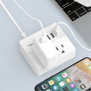 Travel Power Strip with 3 USB Ports -Desktop Charging Station 5ft Extension Cord