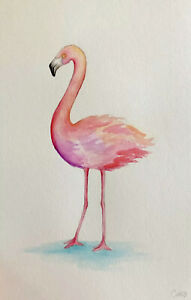 Original Watercolor Painting Of A Flamingo. Signed By Artist. Mothers Day. $12.99