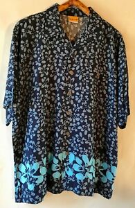 DOWN UNDER Mens 100% RAYON Button Front Blue Hawaiian Shirt Size M $10.00