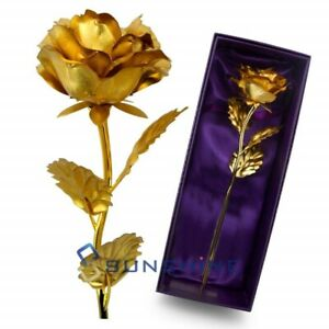 Gold Plated Rose Flower 24K Gold foil For Valentines Day Gift LOVE Luxury Gifts