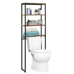 4-Tier Over The Toilet Storage Rack Metal Bathroom Space Saver w/Adjustable Feet