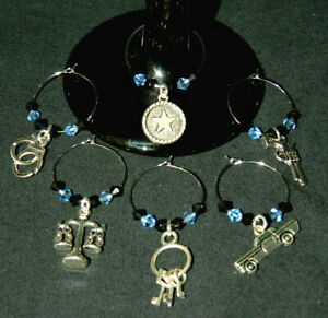 Set of 6 Crystal Silver Police Thin Blue Line Wine Glass Charms Drink Markers