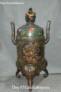 33 Cloisonne Enamel Gold Gilt Dragon Elephant Lion Leo Incense Burner Censer