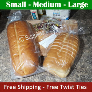 100 - 1000 Bread Bags w Twist Ties for Homemade loaf recipe baked pan loaves